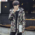 new winter jacket Men's fashion camouflage pattern Long Jacket Thickening casual hooded fur collar white duck down coats parka