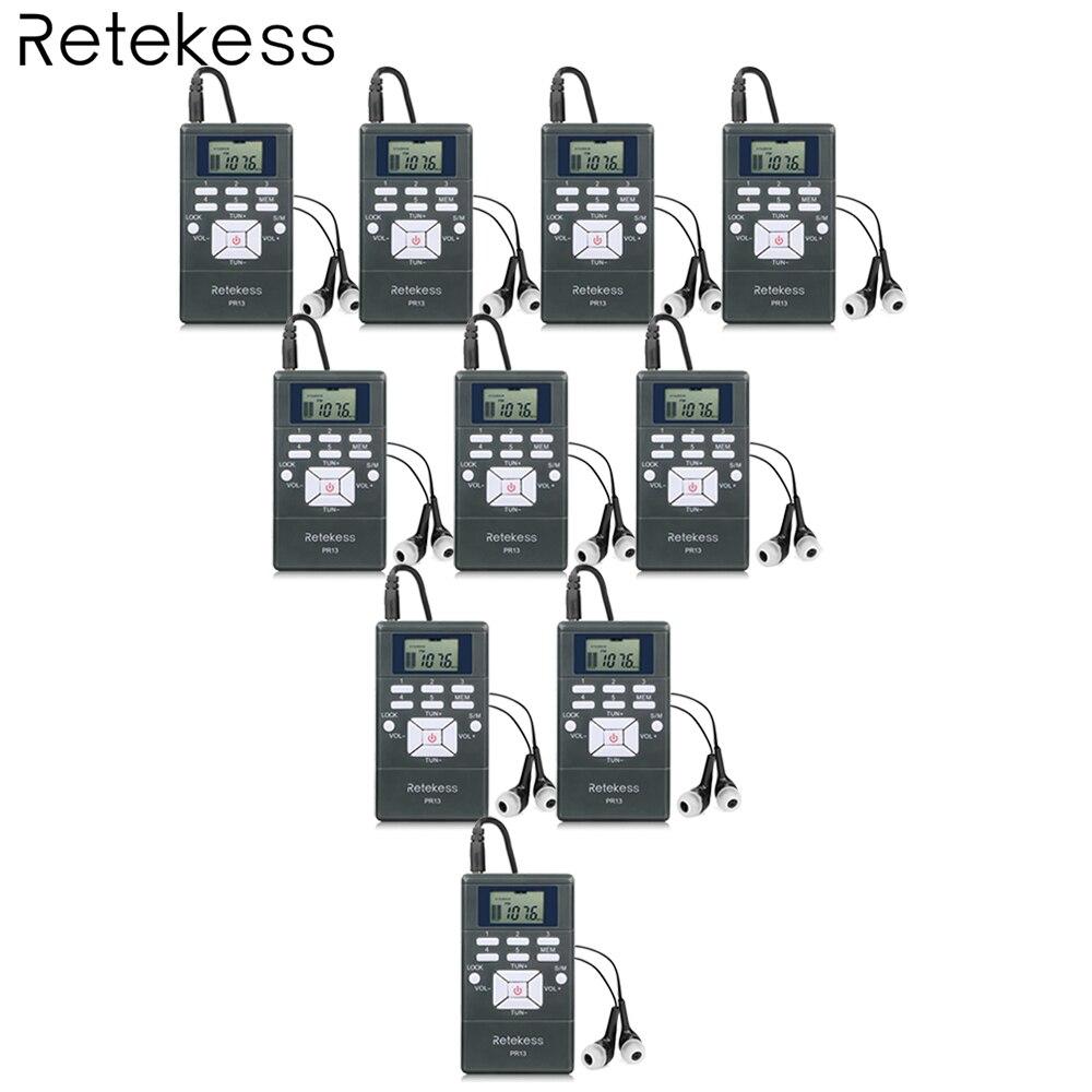 10pcs Retekess PR13 FM Radio Receiver Pocket Radio DSP Radio Portable for Large meeting Simultaneous Interpretation