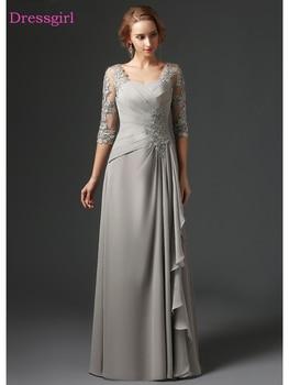 2e3416b0693ec Gümüş 2019 Anne Gelin Elbiseler A-line 3/4 Kollu Şifon Dantel Artı Boyutu  Uzun Zarif Damat Anne Elbiseler Düğün