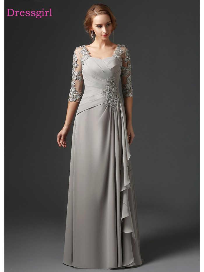 Plata 2019 vestidos de Madre de la novia A-line 3/4 Mangas de gasa de encaje talla grande vestidos largos elegantes de la madre del novio de la boda