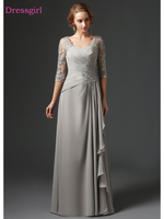 Silver 2018 Mother Of The Bride Dresses A line 3/4 Sleeves Chiffon Lace Plus Size Long Elegant Groom Mother Dresses Wedding