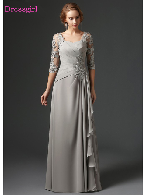 Silver 2019 Mother Of The Bride Dresses A-line 3/4 Sleeves Chiffon Lace Plus Size Long Elegant Groom Mother Dresses Wedding