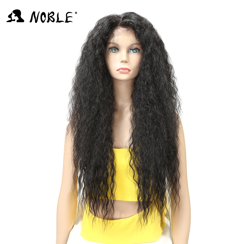"Noble Kinky Curly 30"" Long Ombre Lace Front Wig With Baby Hair Natural Hairline Heat Resistant Synthetic Hair Wigs For Women"