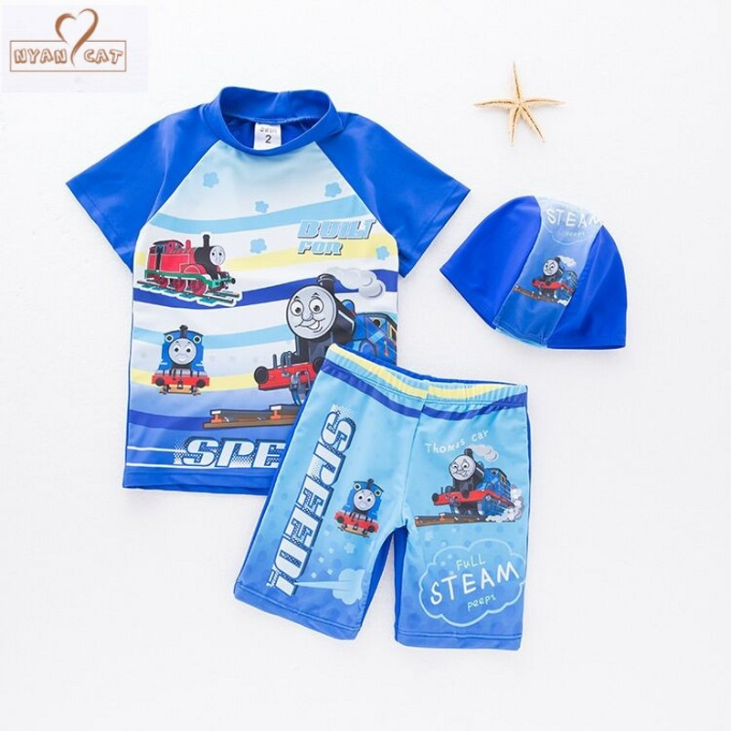 Swim wear New Baby boy swimsuit cartoon Train swimwear +hat infant toddler kids children spa vacation swimming pool clothing set