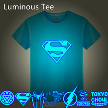 3D T-Shirt children Luminous Tee Shirt Summer Print Tops Light Short-sleeve Iron Man Batman Superman Naruto