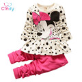 2015 new arrival Girls Clothing set Minnie t-shirt + pants suit 2pcs/set baby girls casual long-sleeved t-shirt dot leggings set