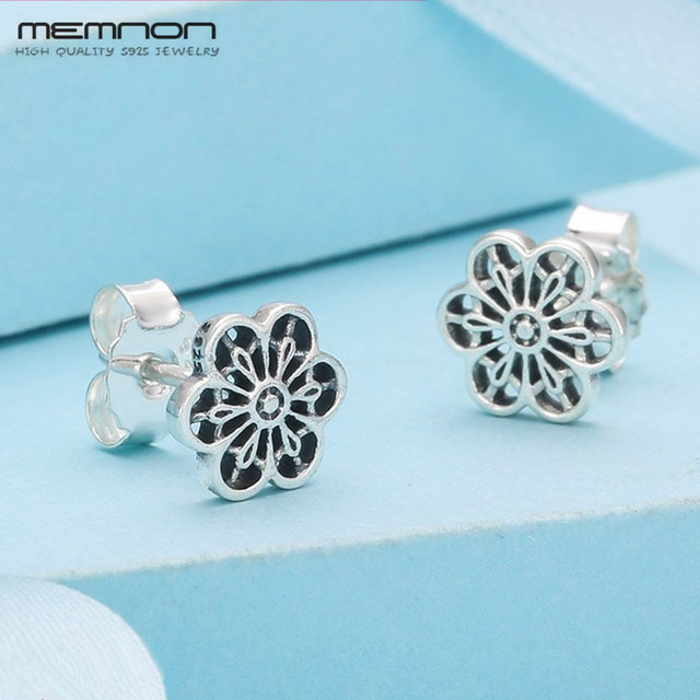 Memnon Spring silver 925 jewelry Floral Daisy Lace Earring Stud earrings for women 925 sterling silver fine Jewelry ER044