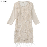 KENVY Brand Fashion Ladies High End Luxury Spring Silk Feather Slim Sequin Cropped Sleeve Dress