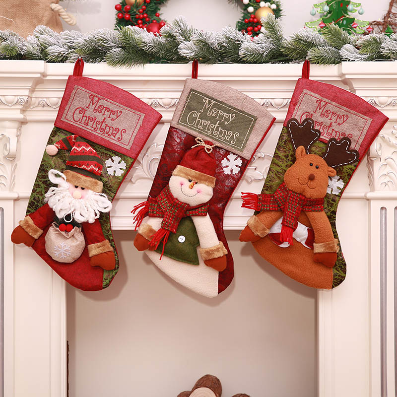 aliexpresscom buy 2018 new large christmas stockings gift cloth santa elk socks xmas gift bagfor children fireplace tree christmas decoration gift from - Large Christmas Stockings