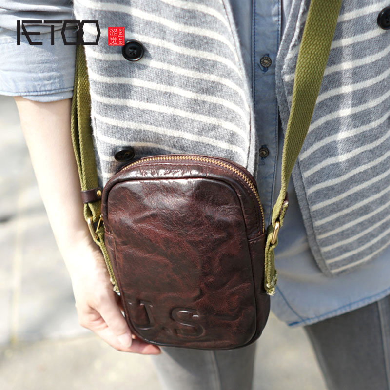цена AETOO Handmade leather old retro leather leisure shoulder bag diagonal package small mobile phone package female bag