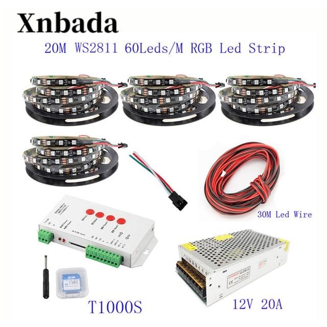 20 M 15 M 10 M 5 M WS2811 bande de LED WS2811 IC 60 LED s/M RGB bande de pixels intelligents + T1000S LED de contrôle + 12 V alimentation en alimentation LED