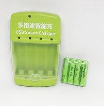 Cncool New Brand AAA 2100mah 1.5V Alkaline Battery AAA Rechargeable Battery +1pcs USB Smart Alkaline/NI-MH/Ni-Cd Charger 4Pcs