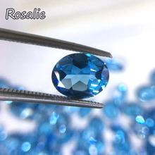 Rosalie,Natural Brazil deep blue topaz oval cut 8*10mm loose real gemstone for silver jewelry special cut DIY jewelry design