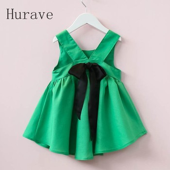 Hurave Summer 2017 New Cute Style Fashion Sleeveless Girls Bow Dress Girl Clothing For Children Cute Dresses Vestidos