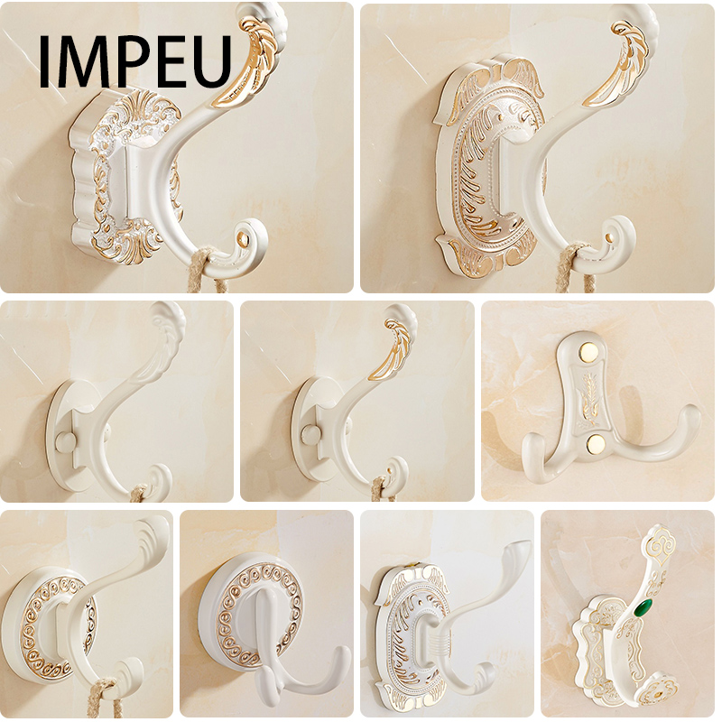 Luxury Wall Hanger Hook For Hat Coat Clothes Towel Robe Bath, Hotel Collection, Traditional Royal Style, Gold / White / Silver