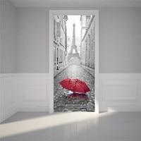 New 3D Door Stickers 2PCS/Lot Bedroom Wall Stickers Paris Eiffel Tower Waterproof Moisture Self adhesive Door Stickers
