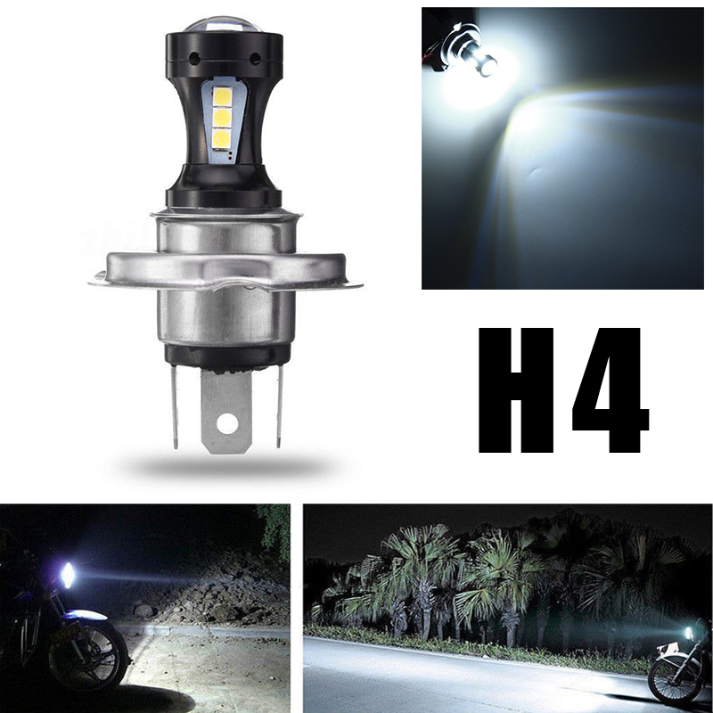 2019 New White H4 Motorcycle Motorbike 18SMD 3030 LED Hi-Lo Beam Headlight Lamp Bulb 6500K 12V