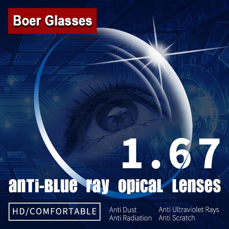 1.67 lentilles optiques asphériques à Vision unique Anti-Blue Ray verres de Prescription lunettes lentille de Vision degrés pour monture de lunettes