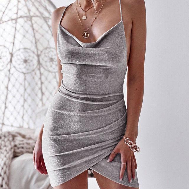 New Women Sequined Bodycon Sparkly Backless Bandage Sleeveless Evening Party Club Mini Dress Sundress 4