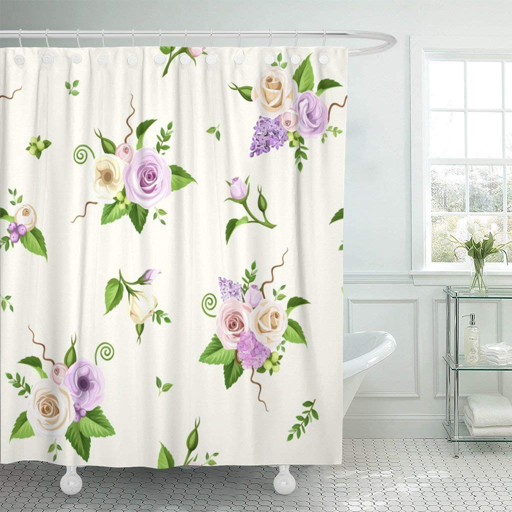 Shower Curtain With Hooks Pink Purple