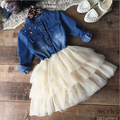 Baby Denim Dress Summer 2016 Cotton Cowboy Tulle Children Dress Cute Baby Girl Summer Clothing 2-6y Kids Clothes