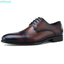 Brand Mens Finger Cap Dress Shoes Oxfords 100% Genuine Leather Fashion Handmade Designers Formal Italy Business