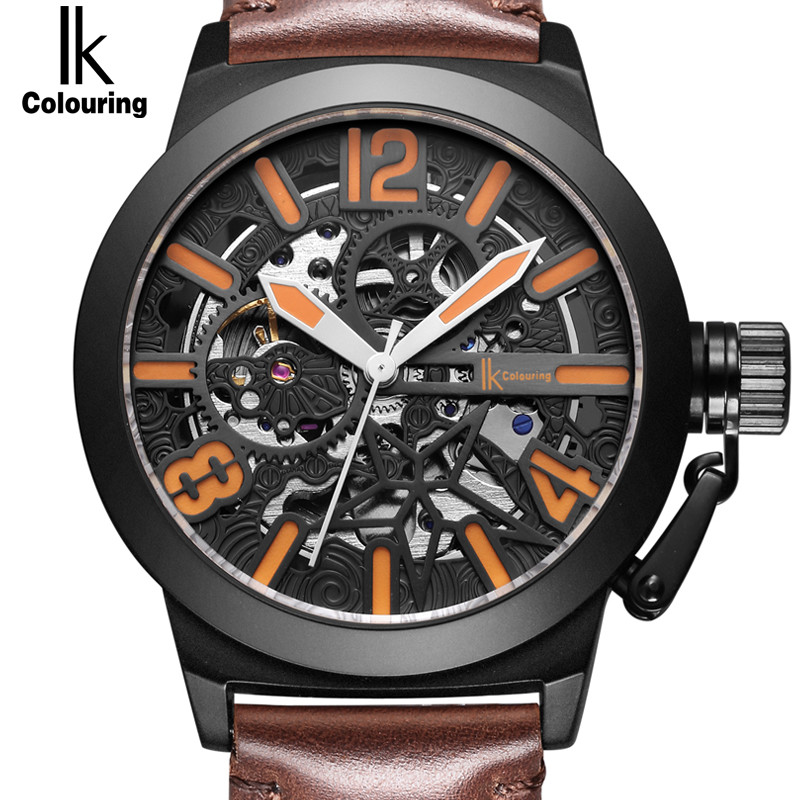IK Colouring Men Luxury Mechanical Watches Skeleton Dial Alloy Self-Wind Automatic Analog Watch Leather WristWatch Men's Clock luxury cool high quality automatic self wind skeleton hollow dial mechanical watch with leather strap gift to men