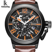 IK Colouring Men Luxury Mechanical Watches Skeleton Dial Alloy Self-Wind Automatic Analog Watch Leather WristWatch Men's Clock