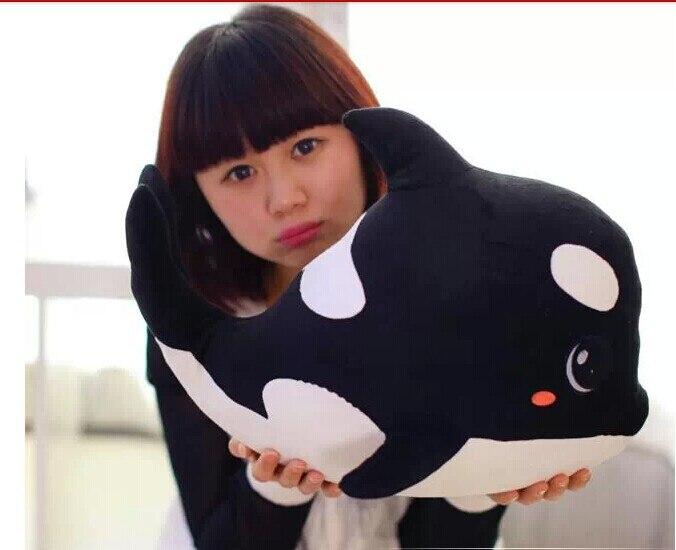 Grand beau dauphin en peluche jouet noir en peluche dauphin haute qualité baleine poupée cadeau d'anniversaire jouet environ 70x50 cm