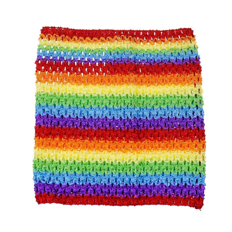 Вязаный топ-труба 9x10 дюймов, топ-пачка для маленьких девочек, вязаная юбка-американка топ-пачка, вязаная крючком повязка на голову, смешанные цвета, 10 шт. в партии