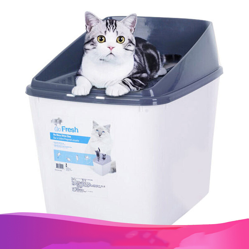 Half-sealed Large Space Cat Litter Box With Plastic Mesh Lid Durable Kitten Toilet Easy Entrance For Large Cat Easy Clean Design