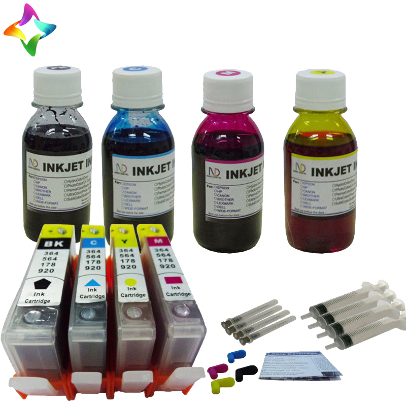 ФОТО 2016New[Hisaint INK] 4 Ink Cartridge+4x100ml refill ink for HP564 Photosmart 5514 5515 5520 printer1P Classic cartridges