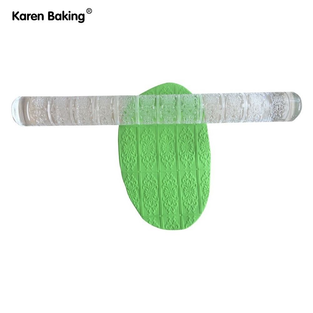 Embossing Rolling Pin in Flower Style Decor Sugarcraft Cake Pastry Tools--A290