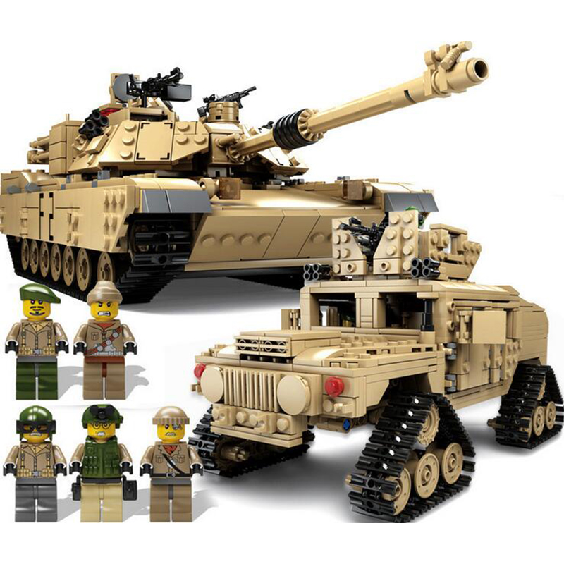KAZI M1A2 Tank Model Collection Military Transformable Building Blocks ABRAMS MBT HUMMER Educational Toys Compatible With Legoe kazi 608pcs pirates armada flagship building blocks brinquedos caribbean warship sets the black pearl compatible with bricks