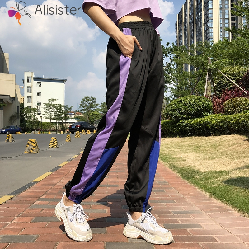 Patchwork Casual Women Joggers High Waist Loose   Pants     Capri   2019 Hip Hop Stripe Purple Sweatpants Streetwear Long Trousers