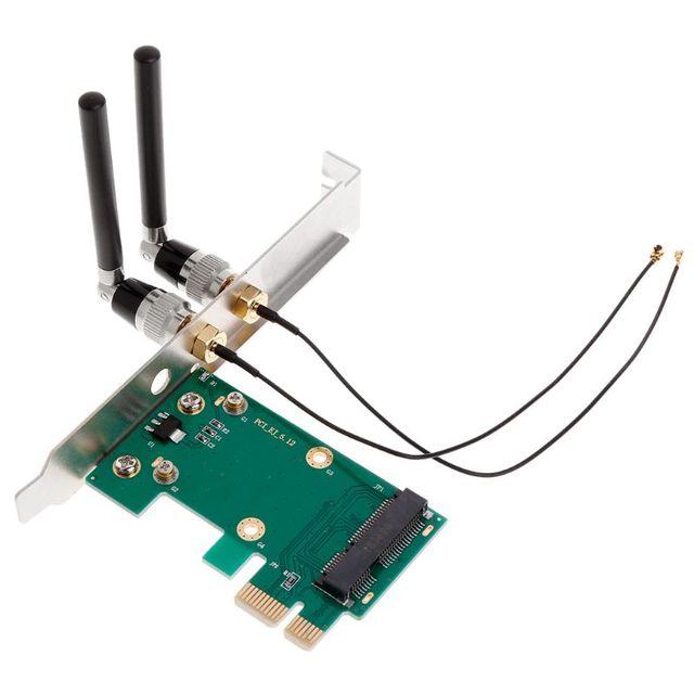Draadloze Wifi Netwerkkaart Mini PCI-E Naar PCI-E 1X Desktop Adapter + 2 Antennes