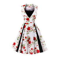 Sisjuly Women Black Pullover Dress Round Neck High Waist Sleeveless Print Dress Elegant Knee Length 4XL
