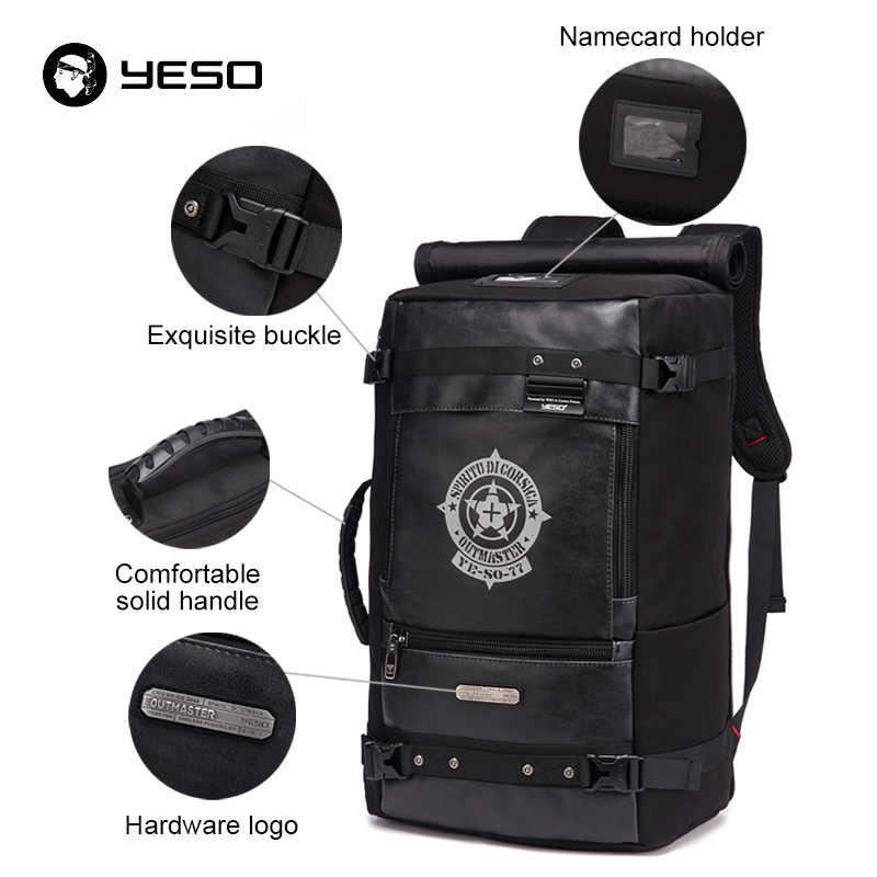 Yeso Baru Tas Ransel Kapasitas Besar Pria 2019 Multifungsi Hitam Ransel untuk Perjalanan Tahan Air Perjalanan Bagpack Tas untuk Pria