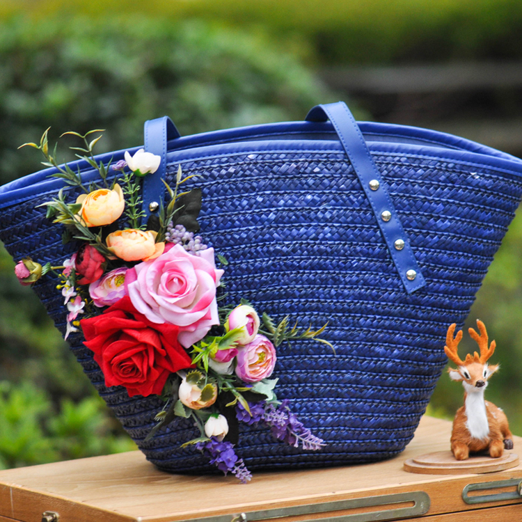 Bags Big Size Large Totes Straw Bag For Travel In Summer Trip On The Beach Beside Sea Handbags With Flowers Custom Sun Hat Set beach trip