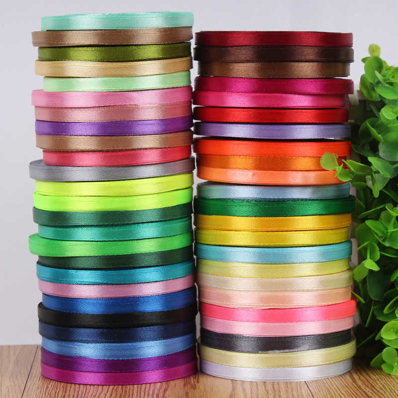 25Yards/roll 6mm Silk Satin ribbons Party Wedding Decoration Gift Wrapping Christmas DIY Material Supplies gold ribbon grosgrain