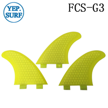Surfing FCS Fins G3 Size Honeycomb Fibreglass Fin Yellow color Surf Quilhas