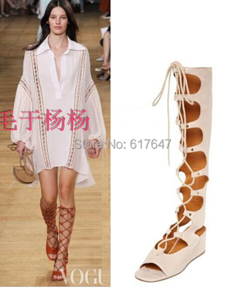 2015 New Design Women Fashion Lace-up Suede Leather Knee High Gladiator Boots Cut-out Peep Toe Summer Sandals Shoes - Western Style Boutique store