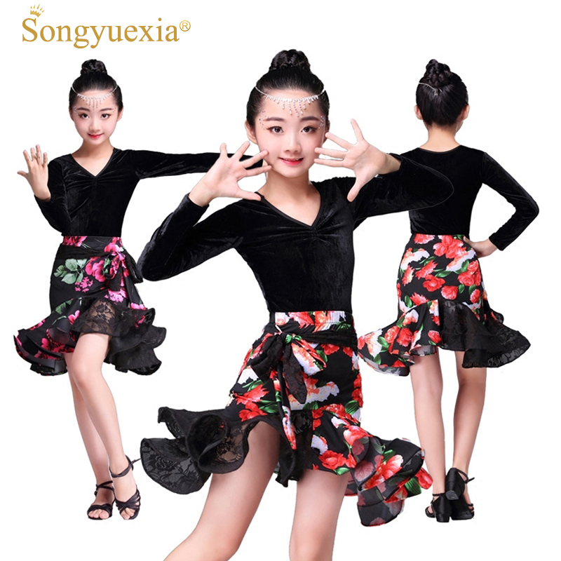 Songyuexia New Pattern Children's Pleuche Long-Sleeved Latin Skirt With Print And Lace Autumn Latin Dress For Kid  110-160cm