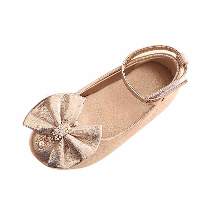 ฤดูใบไม้ผลิเด็กทารกฤดูใบไม้ร่วงแบนรองเท้าเดี่ยวรองเท้าประดิษฐ์ PU หนังเจ้าหญิงเด็กโบว์รองเท้า