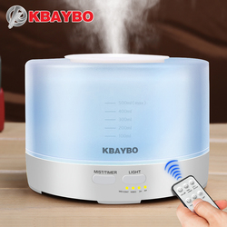 KBAYBO 500ml Electric Remote Control Ultrasonic Air Humidifier Aroma Essential Oil Diffuser With Color LED Light for Home Office