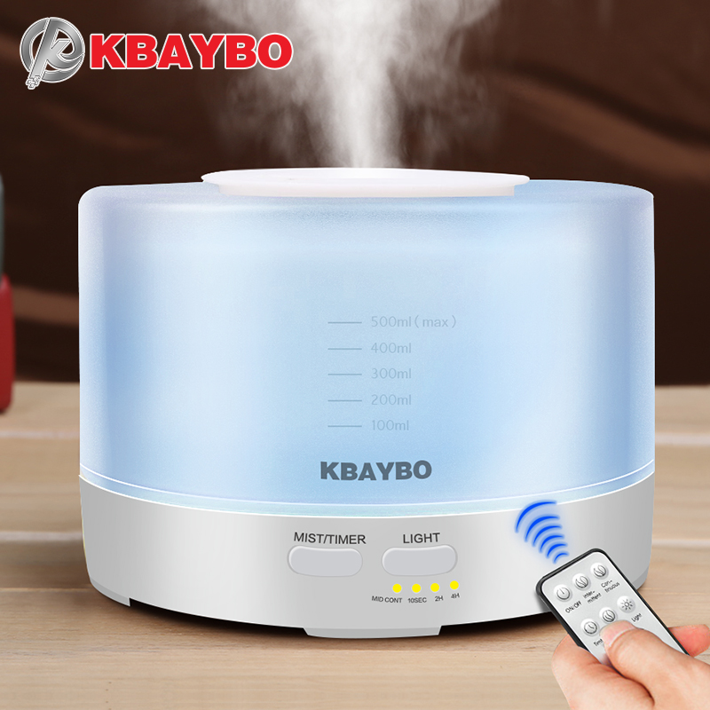 KBAYBO 500ml Remote Control Air Aroma Ultrasonic Humidifier With Color LED Lights Electric Aromatherapy Essential Oil Diffuser цена