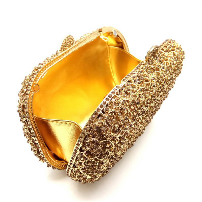 Diamants Qualité À De Color Luxe Main Dames Sacs Élégantes Cristal Embrayages 1 Mariée Noce Sac Gold Soirée Bonne send Pictures Femmes g8qw5