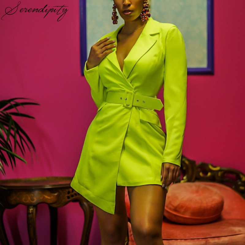 SRDP V Neck Irregular Skinny Female Blazer Elegant Belt Neon Green Mini Blazer Dress Women Streetwear Party Blazer Jackt New