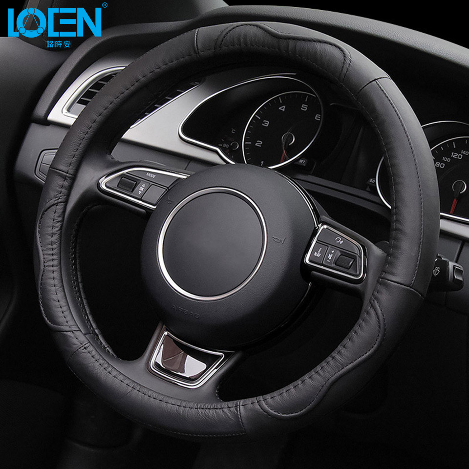 LOEN Car Steering Wheel Cover Cowhide Genuine Leather Hand-stitched Fit for Toyota Mercedes Chevrolet Toyota Peugeot BMW