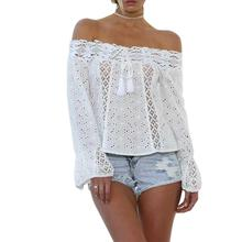 все цены на 2019 New Yfashion Women Summer Off-shoulder Lace Patchwork Shirt with Flared Sleeves Top онлайн